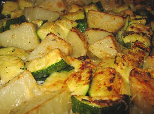 Giada Broiled Zucchini Potato with Parmesan Crust Close Up