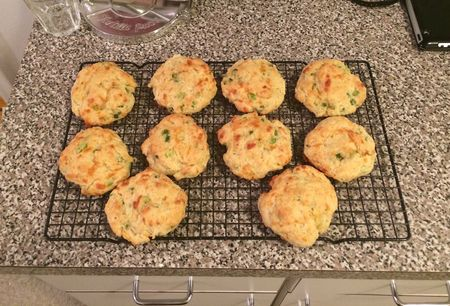 Cheddar Scallion Biscuits Cooling