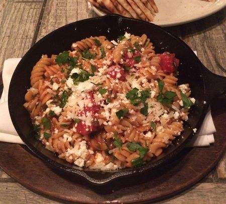 MP Taverna Fusilli with Roasted Tomato, Garlic, Feta, Spicy Croutons