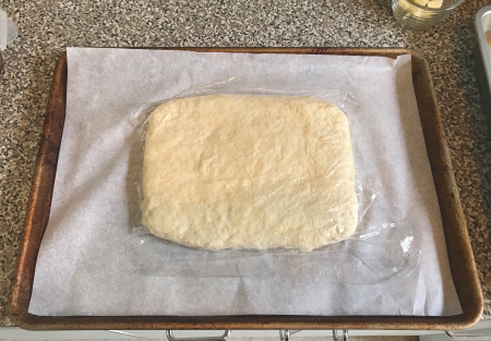 Ultra Flaky Biscuits - Dough Resting with Plastic on Top