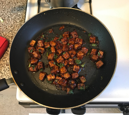 Three Cup Tofu Cooked