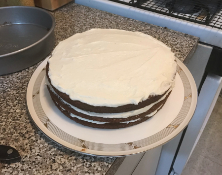 Gingerbread Layer Cake - Three Layers Frosted from Top