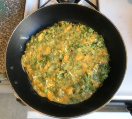 Broccoli Frittata - Cooking