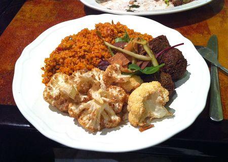 Wafas Vegetarian Platter - Tomato Bulgar, Cauliflower and Falafel