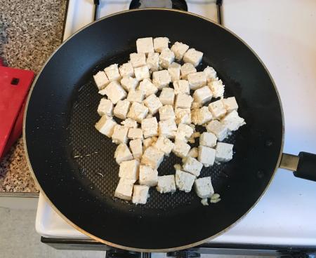 Pan Fried Tofu - in Frying Pan