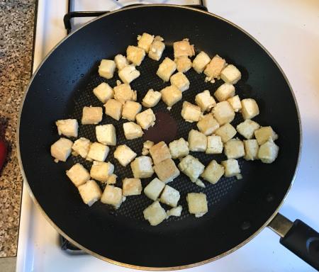 Pan Fried Tofu - Starting to Brown