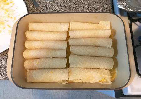 Hatch Chile Enchiladas - Enchiladas Rolled