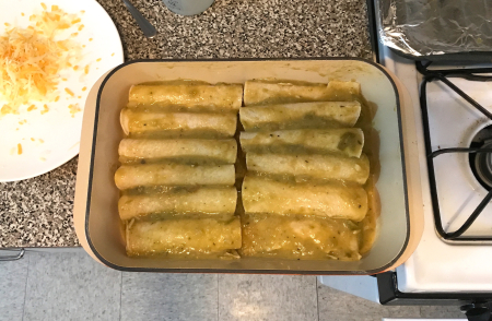 Hatch Chile Enchiladas - Rolled with Sauce