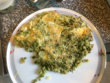 Broccoli Frittatta - Partly Cooked on Plate