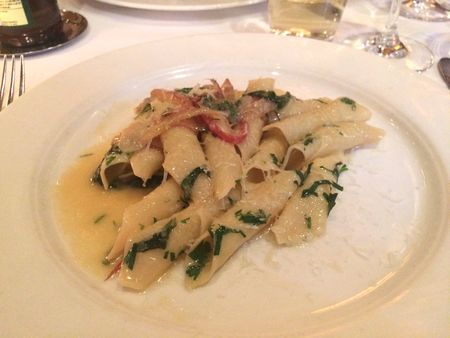 Babbo Garganelli with Swiss Chard and Asiago