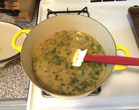 Miso Polenta Kale Soup - in Pot