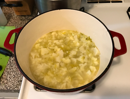 Cauliflower soup - soup cooked down