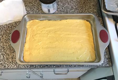 Mango Cake - Batter in Pan