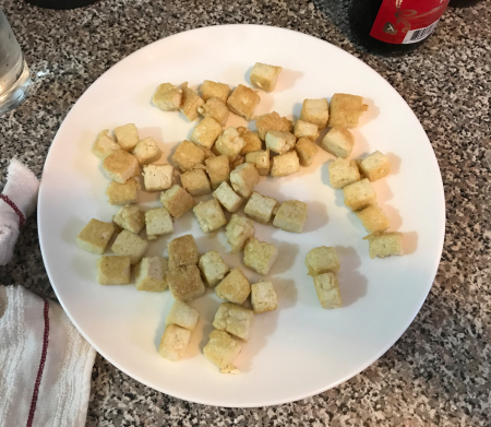 Pan Fried Tofu - Browned and Cooling