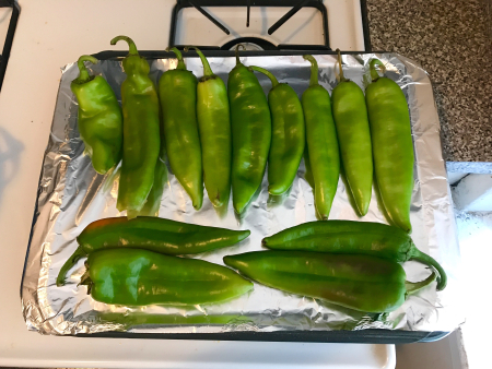 Hatch Green Chiles - Layer on Roasting Pan