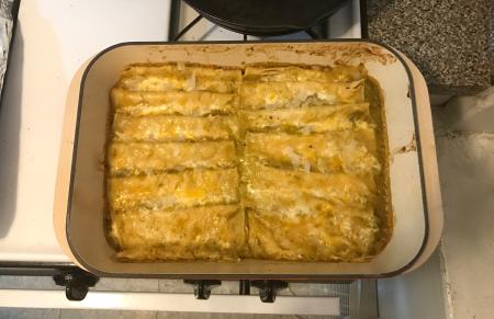 Hatch Chile Enchiladas - Baked Enchiladas