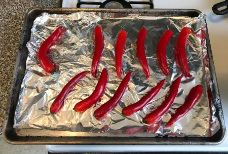 Greek Red Pepper Feta Dip - Peppers on Pan