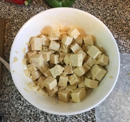 Vegan Gumbo - Tofu Marinating