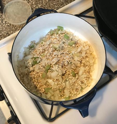 Pearl Barley Risotto - Toasting Risotto