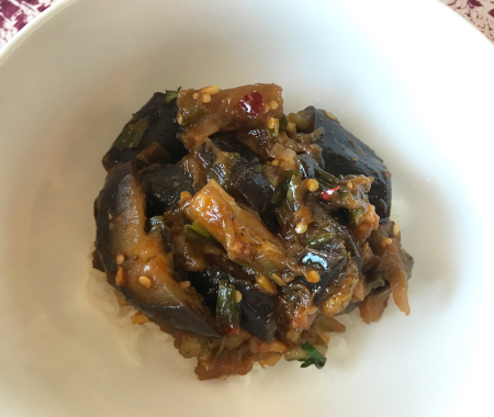 Steamed Sichuan Eggplant - Served over Rice