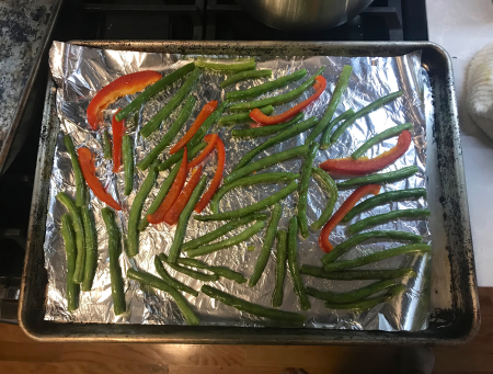 Roasted Green Beans and Bell Peppers - Salted Pre Baking