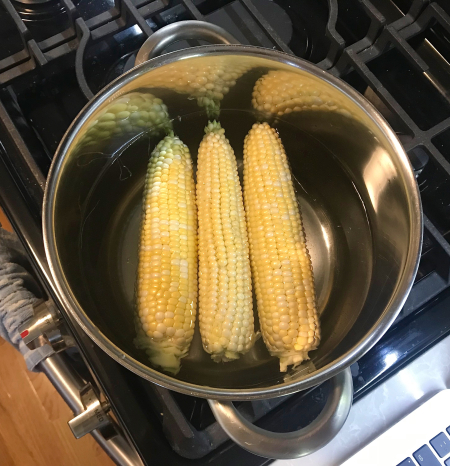 Corn Summer Salad - Corn Boiling