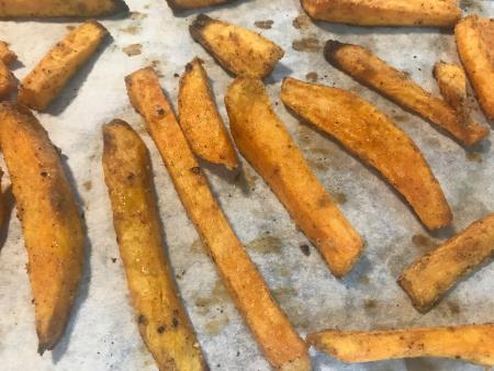 Sweet Potato Fries - Baked Close Up