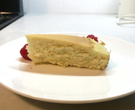 KAF Almond Cake - Baked Cut Piece Side Close Up