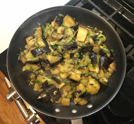 Steamed Sichaun Eggplant - Cooking in Pan with Herbs