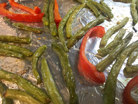 Roasted Green Beans and Red Peppers - Post Roasting Close Up