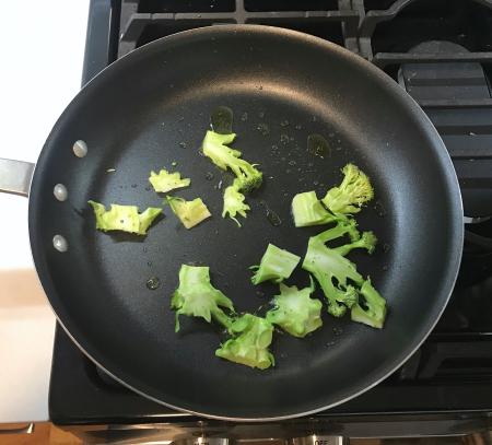 Pan-Roasted Broccoli - Broccoli Stems in Pan