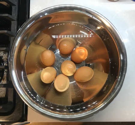 Deviled Eggs - Boiled Eggs in Ice Bath