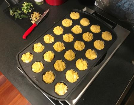 Corn Muffins - Batter in Mini Muffin Pans
