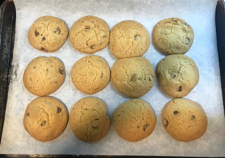 KAF Choc Chip Shortening Cookies - Baked on Tray