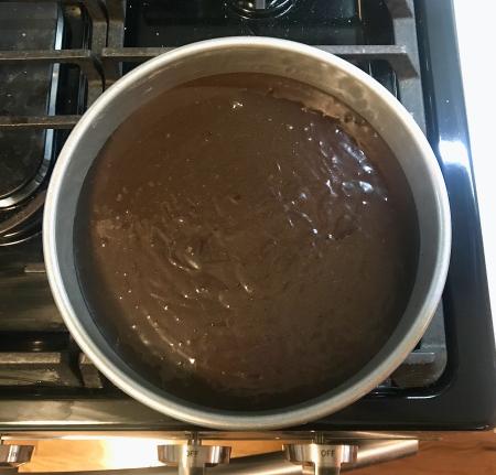 KAF Moist Chocolate Cake - Batter in Pan for Baking