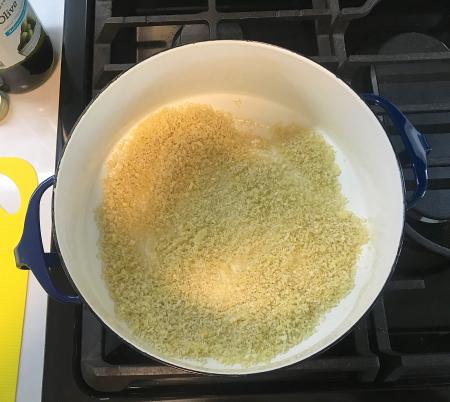 Broccolini Pasta - Panko Breadcrumbs in Pot