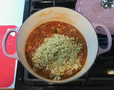Moosewood Quinoa Stew - Quinoa Thrown in Pot