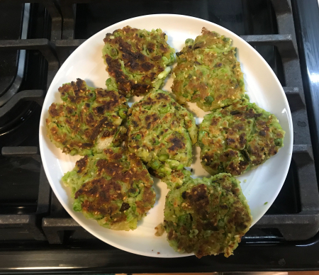 Pea Fritters - Second Batch Ready for Serving