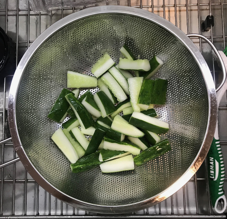 Sichuan Pickled Cucumbers - Cucumbers Being Washed