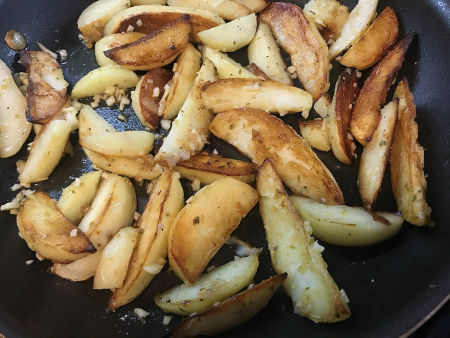 Greek Garlic Lemon Potatoes - Cooked Close Up