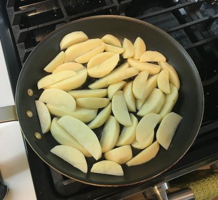Greek Garlic Lemon Potatoes - Potatoes in Saucepan