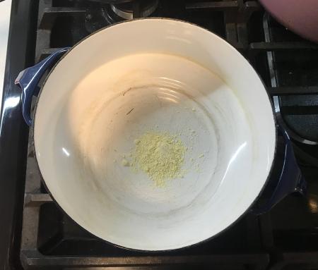 Paneer Achari - Gram Flour Toasting