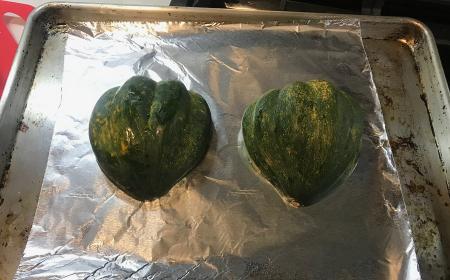 Stuffed Acorn Squash - Cut Down for Roasting