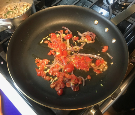 El Paso Queso - Tomatoes and Garlic Cooking