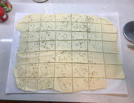Soda Crackers - Dough Rolled and Cut