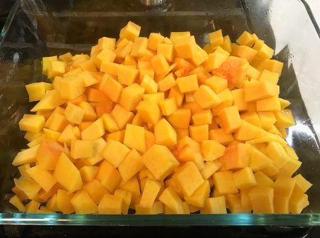 Butternut Squash - PIeces Cut Up and Microwaved