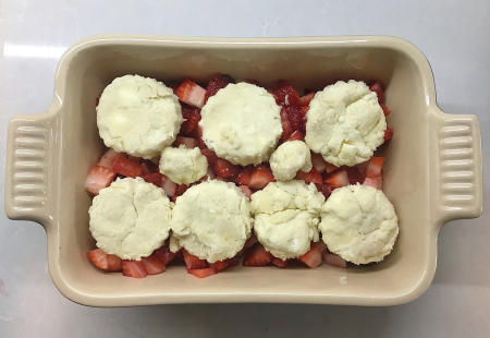Strawberry cobbler - biscuits on strawberries