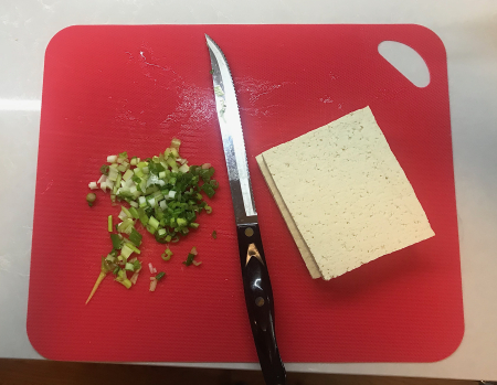 Panko Tofu - Cut Tofu and Scallions
