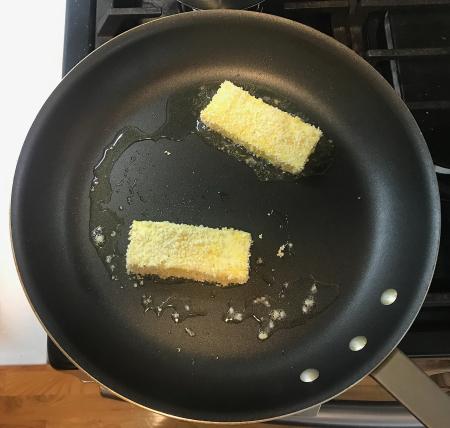Panko Tofu - Being Cooked