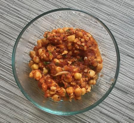 Madhur Jaffrey Tomato Ginger Chickpeas - Chickpeas Served